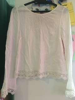 H&M White Blouse with Lace