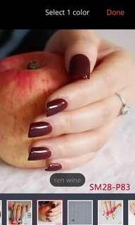 24pcs Red Wine Short Press On Nails
