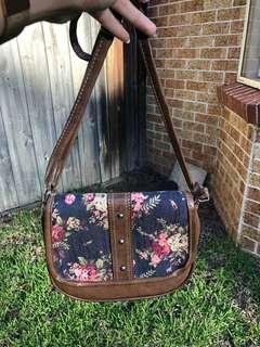 Brown floral handbag
