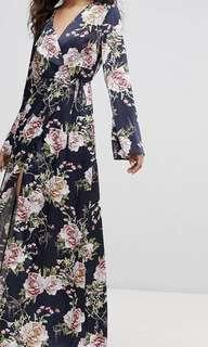 🚚 Floral Maxi Wrap Dress