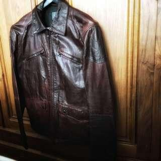 Armani Exchange Men's leather bomber jacket