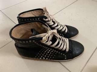Frye Kira Biker High Black Studded Leather Shoe