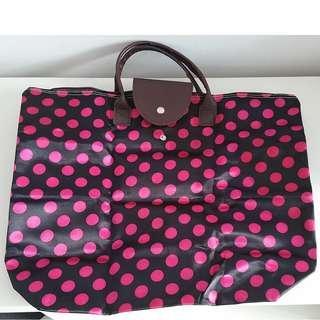 Polka Dot Foldable Tote Bag Retro Fashion Pnk