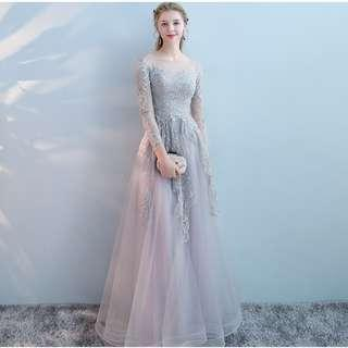 Gown Collection - Elegant Sweet Long Embroidered Lace Sleeves Gown