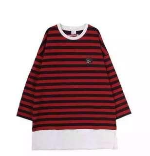 Net貓印花條紋T-恤 (紅包)
