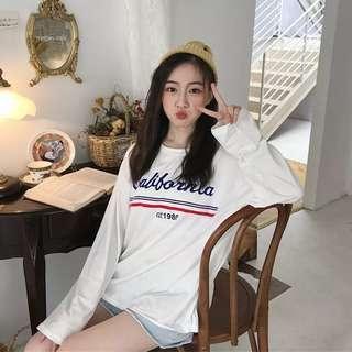 Korean White T-shirt Long sleeves california printed white basic simple top