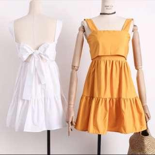blanka tier strap dress / babydoll self tie ribbon dress