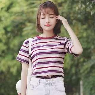 Stripes top t-shirt knitted red pink women