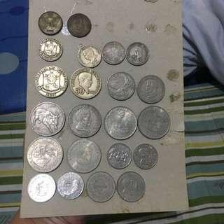 collections of old coins and currency