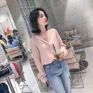 Korean Pink Chiffon Top V-neck sexy collar shirt dusty light pink