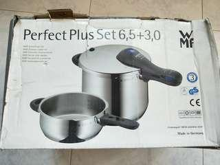 Germany WMF Pressure cooker set C/W 6,5 & 3,0 cookers  +  new glass lid