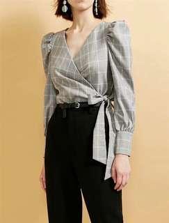Grey Check Wrap Blouse