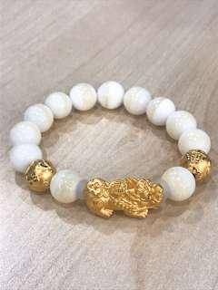 🚚 Pure gold Pixiu with ball bracelet