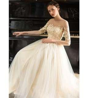 Gown Collection - Champagne Midi Transparent Shoulder Flowers Design Long Sleeves Gown