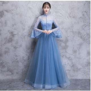 Gown Collection - Sky Blue Long Bubble Sleeves Design Gown