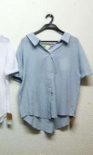 🚚 韓版 短袖襯衫  水藍色