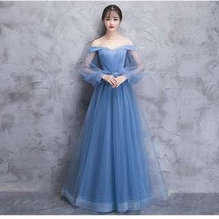 Gown Collection - T-Off Shoulder Long Puffy Sleeves Blue Gown
