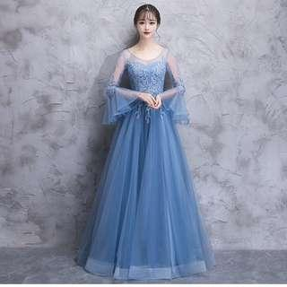 Gown Collection - Simple Long Lotus Lace Sleeves Blue Gown