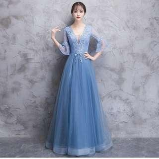 Gown Collection - Slightly V Neck Design Mid Length Sleeves Gown