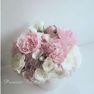 Rustic Fresh Peonies pink & white hand bouquet (Wedding / ROM/ Bridesmaid / Proposal/ Anniversary/Birthday)
