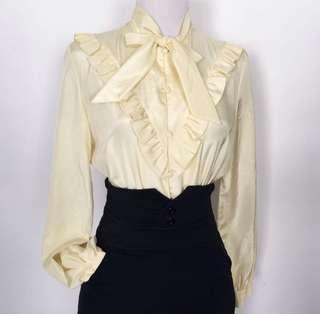 🚚 Pale Yellow Vintage Blouse