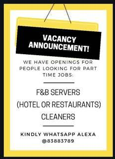 HOTEL SERVERS AND CLEANERS NEEDED! NO EXPERIENCE REQUIRED