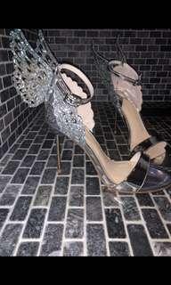Silver Glitter Butterfly Heels/Stilettos