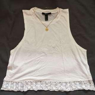 Forever21 Boho White Crop Top