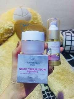 Serum glow and night cream glow fabil