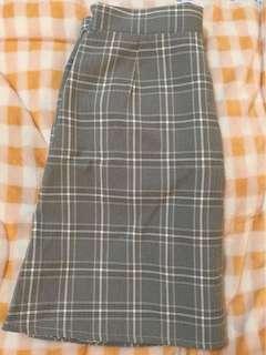 🚚 韓版 灰色格紋 側拉鍊後鬆緊 高腰短裙 A字裙