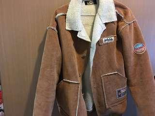 🚚 棕。燈芯絨拼貼毛外套