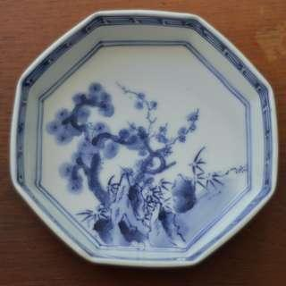 Octagonal Blue and White footed small bowl, Marked