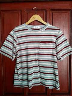 Maroon and Blue Stripes Top