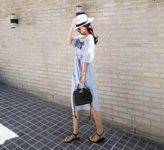 🚚 Embroidery Stripe Dress