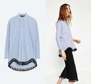 Zara shirt with tassels