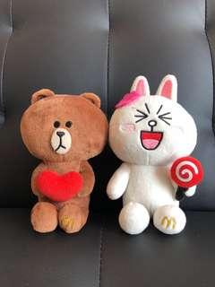McDonalds line friends Brown and Cony stuffed toys