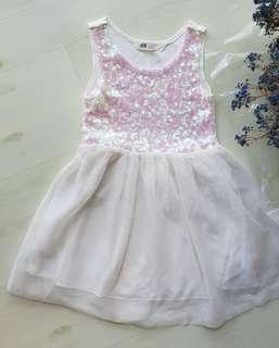 H&M girls glitter white chiffon dress