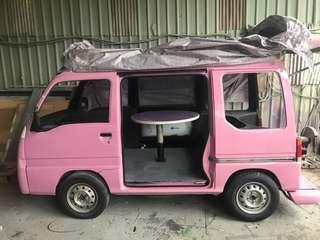 粉紅麵包車,車內圓桌下有魚缸  🚗汽車尺寸(cm) 總長340(到保險桿) 後廂掀背總長420 寬 160 高 185 內高137 割愛138000元
