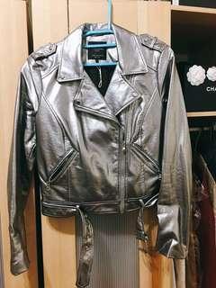 Zara 銀色皮外套