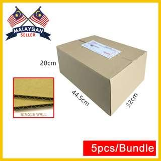 (445mm x 320mm x 200mm, Set of 5) Single Wall Cardboard Shipping Box for Packing