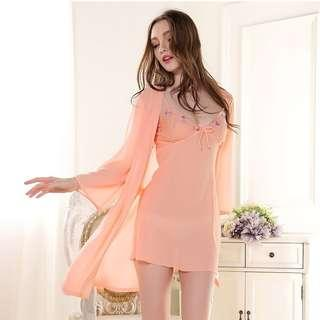 [READY STOCK] Peach Chiffon Two Piece In One Set Sleepwear Robe Lingerie