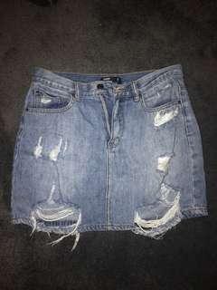 Blue Ripped Denim Skirt Size 10