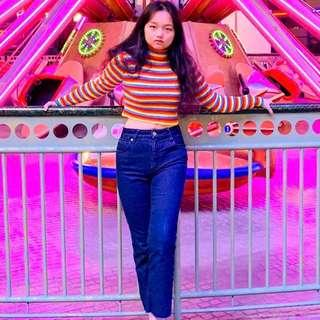 🚚 (SET) Rainbow Knitted Top with Jeans