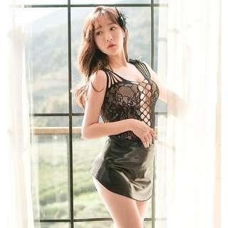 [READY STOCK] PU Leather Sexy Body Stocking Dress Sleepwear Lingerie