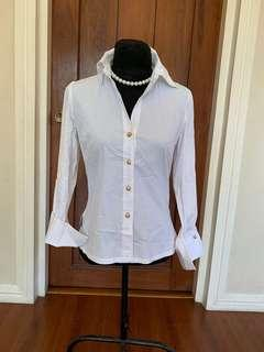 Women: INC White long sleeves with gold buttons Size 6
