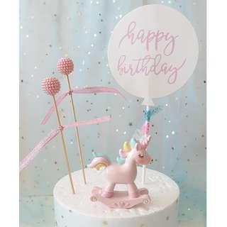 Unicorn Cake Topper with Pearl Balls|Happy Birthday Banner|Cake Toppers
