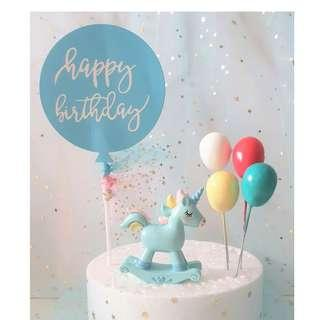 6 in 1 Unicorn Cake Topper with Balloons|Happy Birthday Banner|Cake Decoration