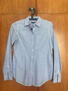 Purple / blue stripy fitted shirt