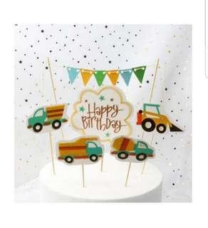 🚚 Happy Birthday Cake Topper Set