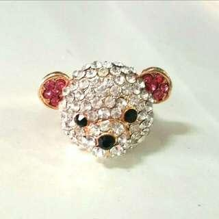 🚚 CLEARANCE SALE! Studs Encrusted Teddy Bear Ring Adjustable Size